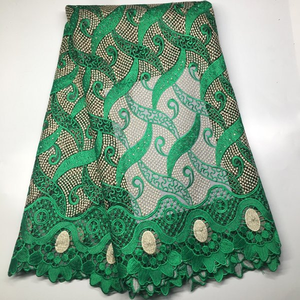 Green Color African Lace fabric 2019 New Arrival African Cord Lace For Wedding Dresses Guipure Lace Fabrics High Quality M1939
