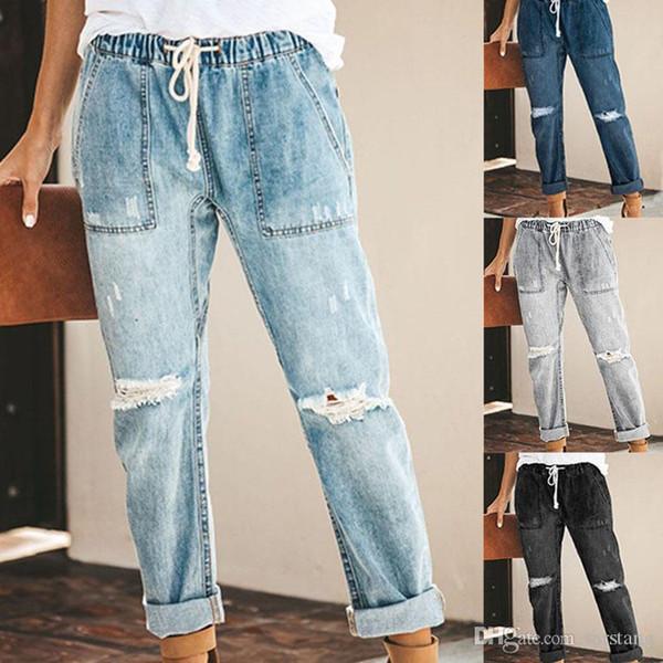 Frauen Distressed Jeans Knie zerrissene lange Jeans Sommer Loch lose Hose Kordelzug elastische Taille Taschen Denim Hosen