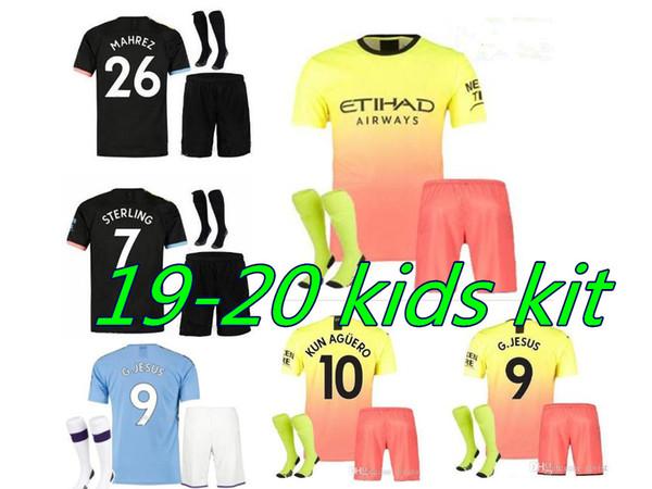 2019/20 kids soccer jerseys 2019 2020 celebration mashup kids kit kun aguero de bruyne city home away shirt full kit with socks