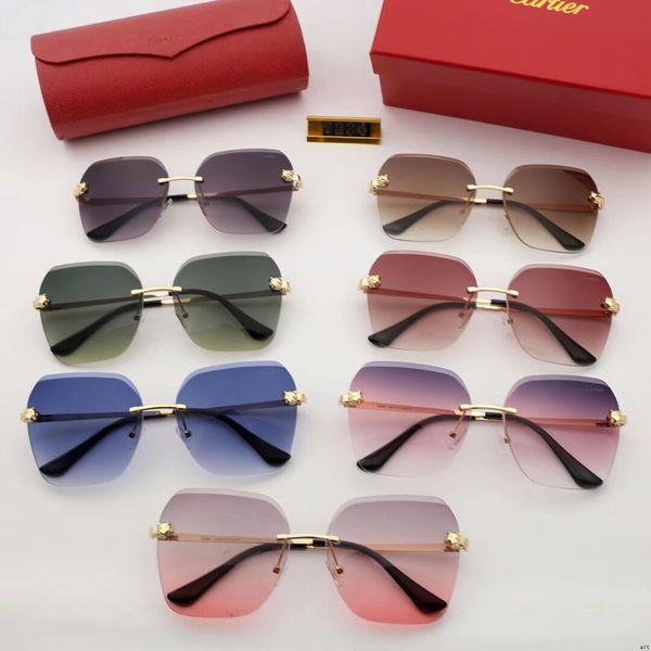 Hombres Mujer Gafas de sol de diseñador Gafas de sol de lujo Gafas de diseño de cristal Adumbral Gafas UV400 Modelo 5200 7 colores Opcional Alta calidad con caja