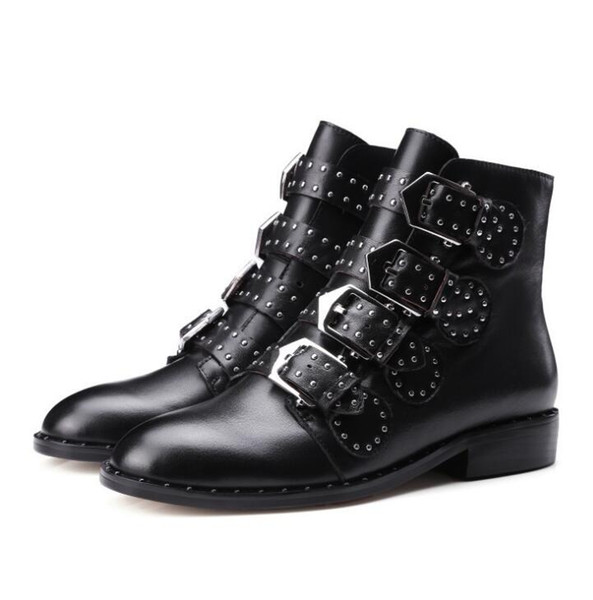 2019 Rivets Faux Leather Booties Buckle Straps low Heel Black Ankle boots fashion Women Boots Studded Decorated martin Boots
