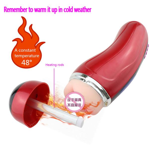 Danceyi Hand-free Interactive Warming Pronunciation Aircraft Cup Automatic Sucking Dual Hole Masturbator Vibrator for Men av245