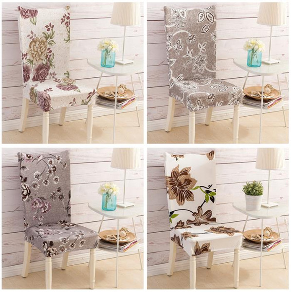 Floral Letter Dining Chair Cover Spandex Elastic Anti-dirty Slipcovers Protector Stretch Removable Hotel Kitchen Seat Case