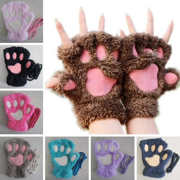 Women Fluffy Plush Gloves Fashion Girl Winter Mittens Paws Gloves Stage Perform Prop Cute Cat Claw Glove TTA1527