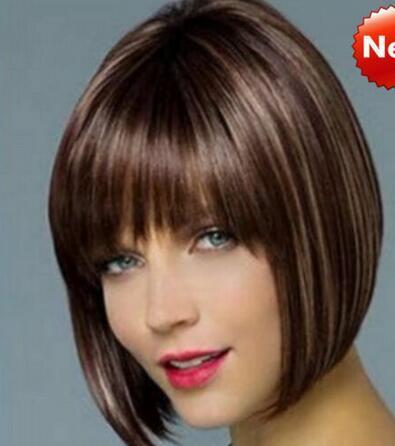 Großhandel Versandkostenfrei Charmante Neue Schöne Heiße Qualität Verkaufen Frauen Damen Echte Natürliche Kurze Glatte Haare Perücken Bob Stil Cosplay