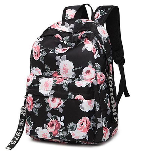Fashion Water Resistant Nylon Women Backpack Flower Printing Female School Rucksack Girls Daily College Laptop Bagpack #92352