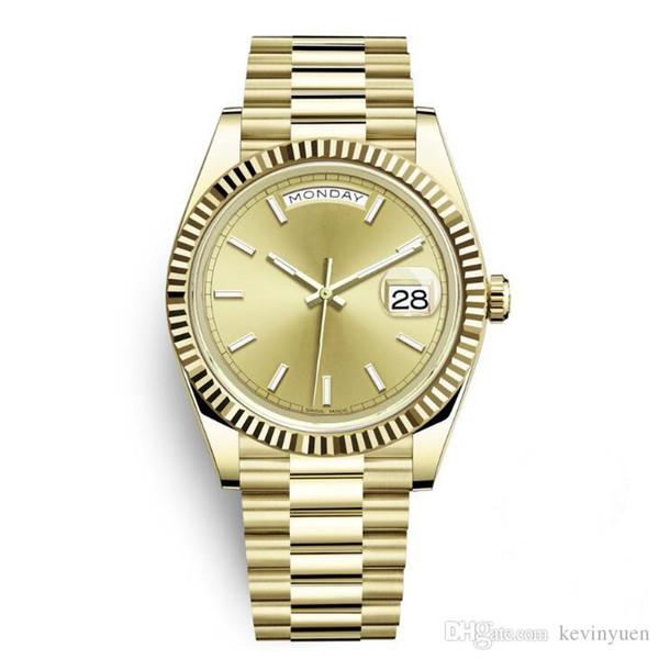 Daydate Reloj deportivo de estilo clásico para hombres de negocios FECHA DEL DÍA 40 MM Dial dorado Cierre de cronógrafo Fecha Corona Recomendado Nuevo reloj de pulsera automático
