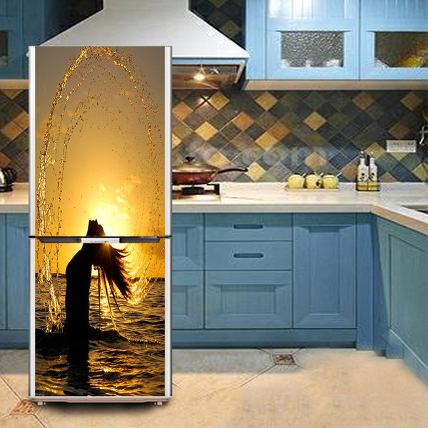 Großhandel Frau Haar SelfAdhesive Geschirrspüler Kühlschrank Einfrieren Aufkleber Kunst Kühlschrank Tür Abdeckung Tapete