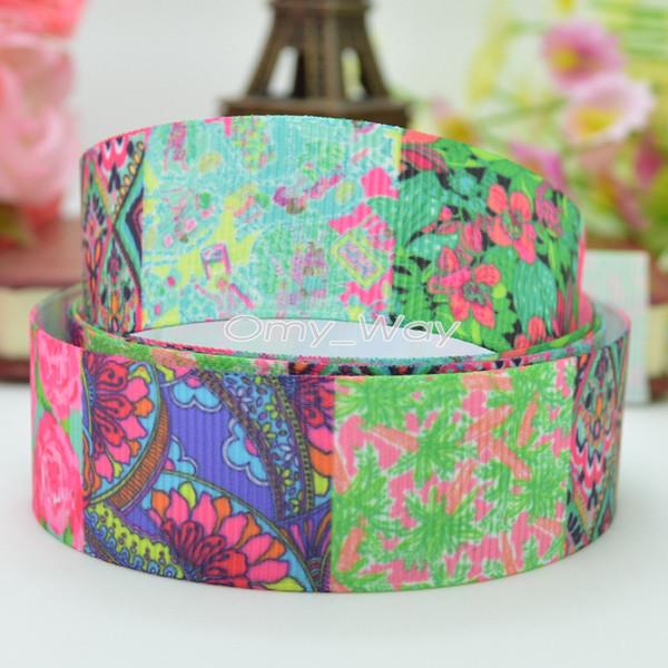 "Lilly Ribbons 7/8"" 22mm Flowers Printed Grosgrain Ribbon Hair Bow DIY Handmade Crafts Ribbon Print 50Yards C-2453"