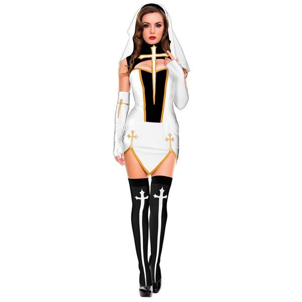 Umorden женщин Bad Habit Sexy Монахиня костюм белый с чулки сестра Косплей Хэллоуин Пасха Mardi Gras Необычные платья партии