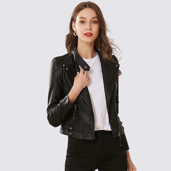 Pu Leather Jacket Women Fashion Bright Colors Black Motorcycle Coat Short Faux Leather Biker Jacket Soft Jackets Female Coats