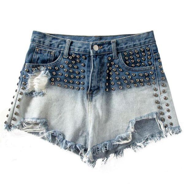 Jeans shorts frauen 2019 sommer hohe taille perlen loch spleißen farbe hot shorts jeans beiläufige kurze mujer w1188