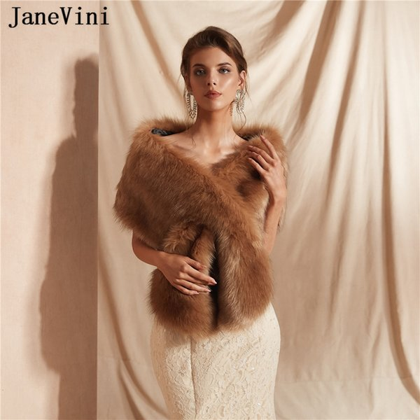 JaneVini 2019 New Soft Warm Faux Fur Bridal Stole Jacket Winter Women Shawls and Wraps Elegant Wedding Cape Cloak Bolero Mariage Femme