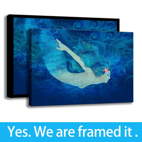 Sea Girl Art Background Wall Decorative Mermaid HD Print Canvas Oil Painting - Ready To Hang - Framed