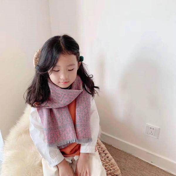 letras novas crianças feitiço cor lenços de cashmere no outono e inverno cashmere franjas meninos e meninas cachecol
