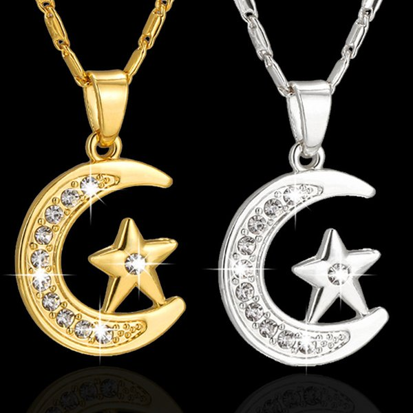 Newest Hot Trendy Muslim Islam Totem Star and Moon Pendent Necklace Gold Color Preservation Jewelry Free Shipping