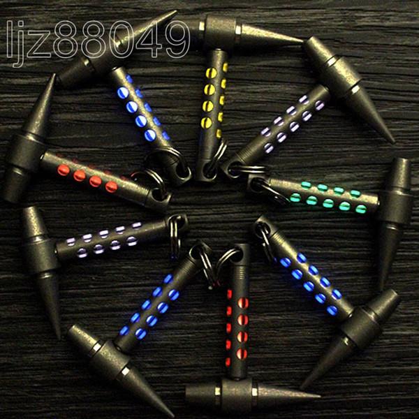 Outdoor TC4 titanio Tritium EDC Mini Hammer luminoso illuminazione a fluorescenza pendente Knife Bead cordino luce crescente Pocket Multi Tools