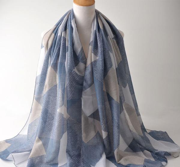 2018 New Geometry Print Scarves Shawls Women Block Foulard Wrap Scarf Hijab Muffler 6 Color Wholesale 10pcs/lot Free Shipping