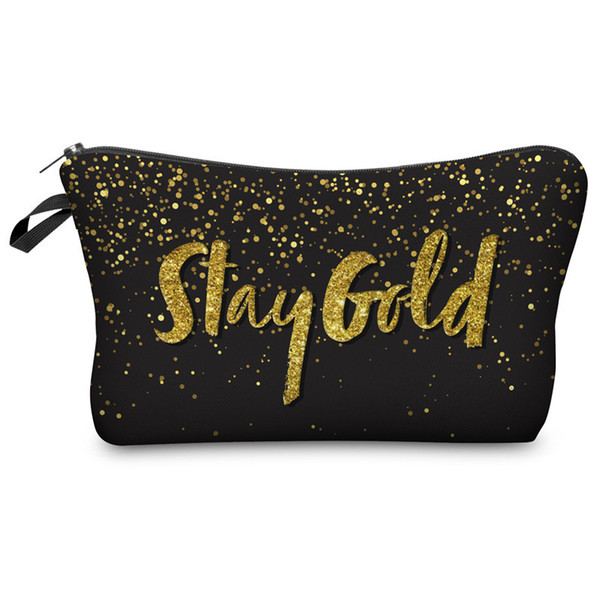 Digital Printed Bright Letter Cosmetic Bag Hand-held Bag Lady Fashion Cosmetic