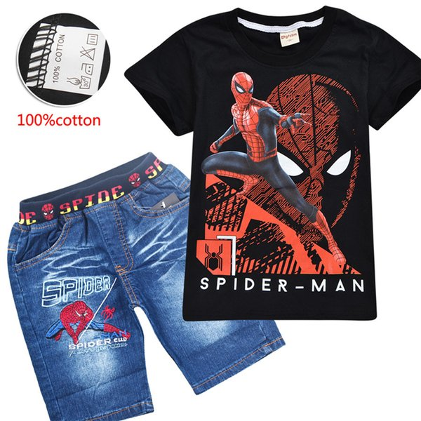 Avengers Spider-Man Printed children clothing Sets Summer 3-10t 100% Cotton T-shirt+Shorts 2 PCS/Sets Kids Baby Boy Clothes Sets DHL SS222