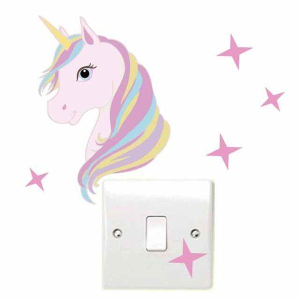 Neuheit Abnehmbare Cartoon Hellrosa Schalter Einhorn Sterne Wandaufkleber Abziehbilder Für Kinderzimmer Home Wall Art Decor