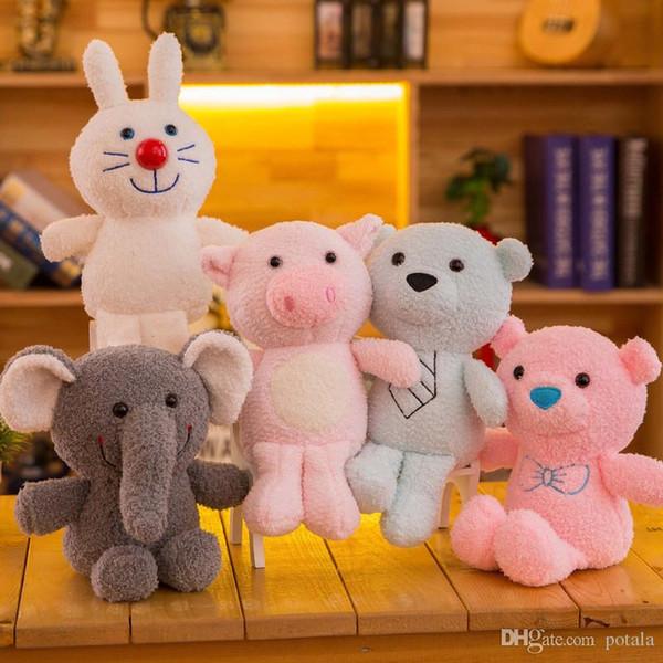Bear Plush Toys Stuffed&Plus Animals Rabbit Pig Elephant Lovely plush doll bouquet gift toy for children Home wedding Decor interactive Grey