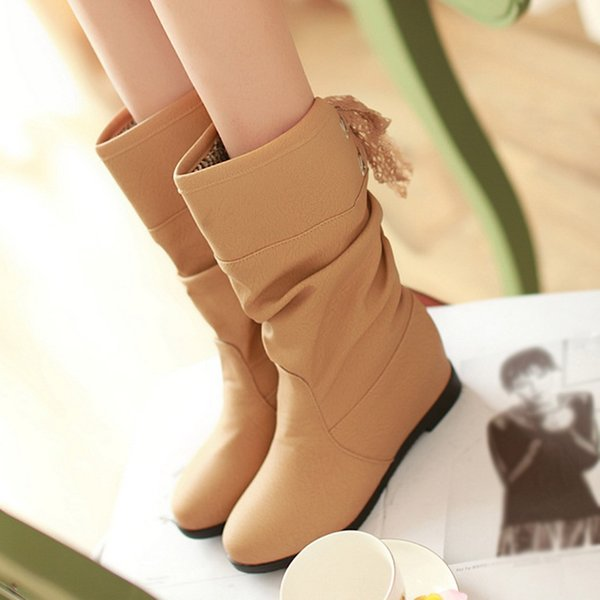 MUQGEW Increase Within Mid-Calf Woman boots Student Casual Middle Tube Large Size Boots winter leather women chaussures