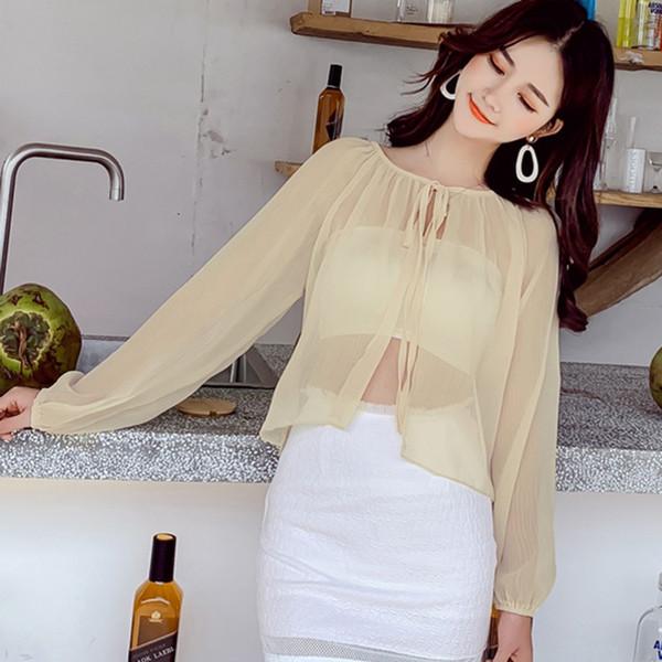 Женщины Шифон Кимоно Кардиган Плюс Размер Свободный С Длинным Рукавом Короткая Блузка Зашнуровать Перспектива Рубашка Лето Пляж Прикрыть
