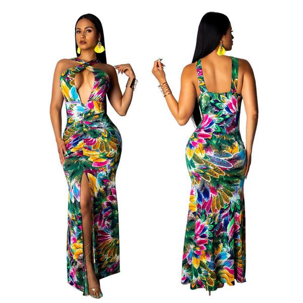 SMR9244 modelli esplosione di fascia alta femminile Hot Europa e in America moda sexy cinghie di stampa con scollo a V donne