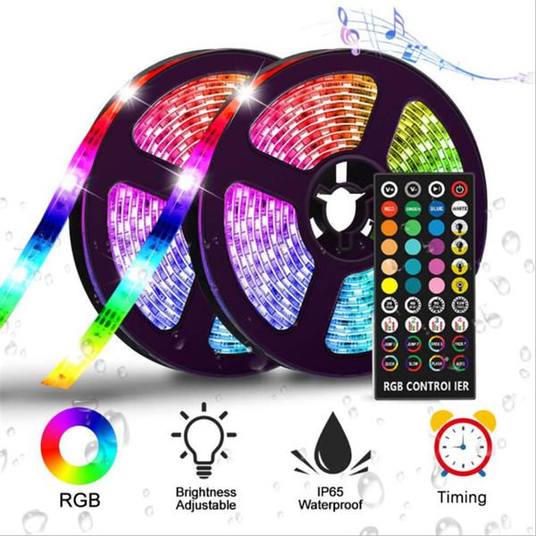 Música Luzes de Tira CONDUZIDA RGB Sincronização para Música 10 m IP65 À Prova D 'Água Flexível Faixa de Led com Função de Sincronismo Controle Remoto Fita Decorativa luz
