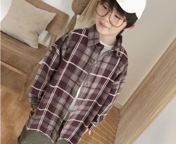 Fashion Boys plaid shirt kids lapel single breasted long sleeve casual cardigan 2019 spring new children out wear lattice shirt F3887