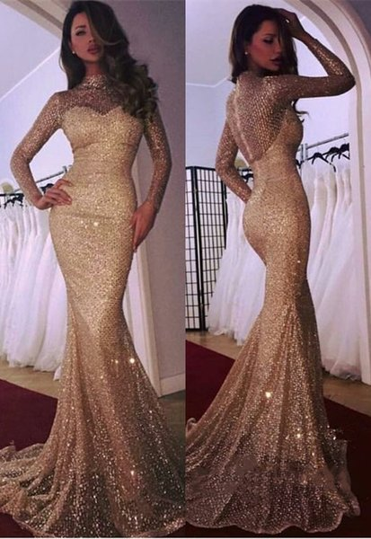 Black Girls Prom Dresses 2019 Mermaid High Neck Long Sleeve Sequin Evening Gowns Cocktail Party Ball Sweet 16 Dress Quinceanera Formal Gown