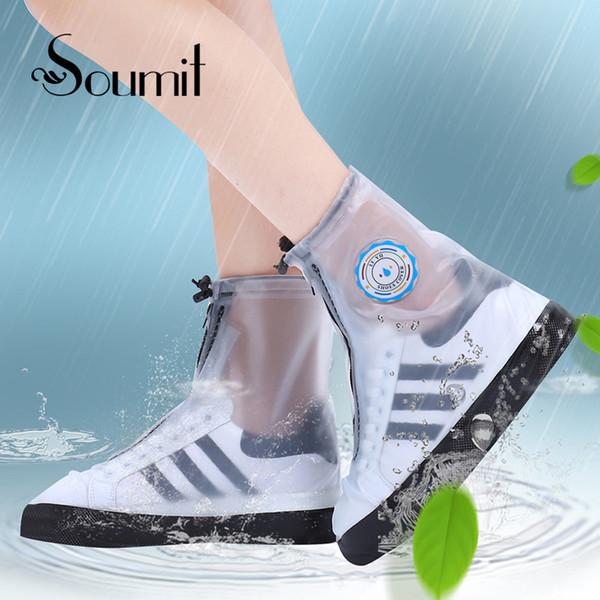 Soumit PVC Mode Étanche Rain Shoe Cover pour Hommes Femmes Chaussures Protecteur Réutilisable Bottes Couvre-Chaussures Bottes Accessoires
