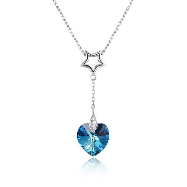 collar con colgante de corazón en piedras de cristal plata de colores
