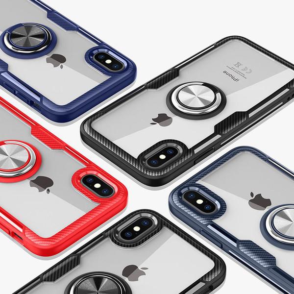 Araç Tutucu Mıknatıs Parmak Yüzük Vaka iphone XS Max XR X Emme Braketi Samsung S9 S9plus Için Yumuşak Silikon Temizle Kapak Standı