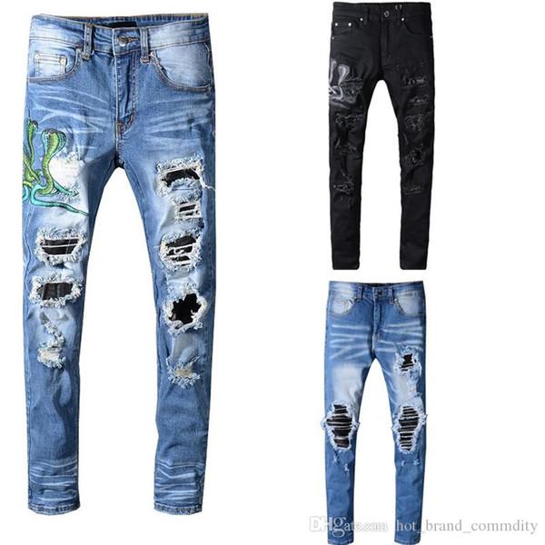 Амир узкие джинсы для мужчин рваные отверстия джинсы мотоцикл байкер джинсовые брюки мужчины бренд дизайнер хип-хоп мужские джинсы