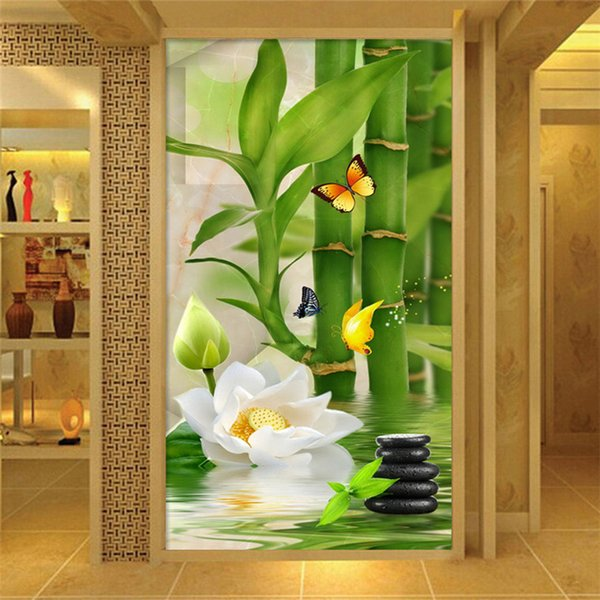 Chinese Style Bamboo Flowers Nature Mural Wallpaper Living Room Hotel Entrance Backdrop Wall Painting Classic Mural Wallpaper 3d Full Resolution Hd