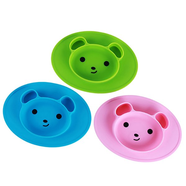 Toddler Baby Feeding Bowl Baby Silicone Bear Shaped Plate Mat Non-slip Infant Kids Small Meal Fruits Tray
