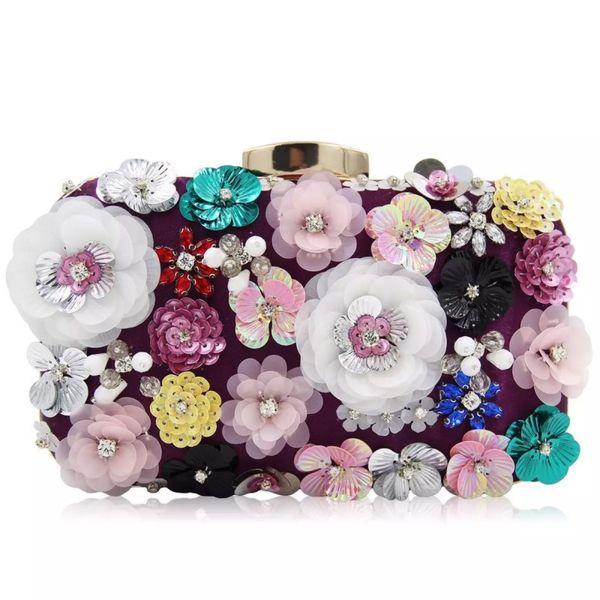 New evening bag lady handbags heavy hand bead sweet flower chain bag bridesmaid bag shoulder small backpack