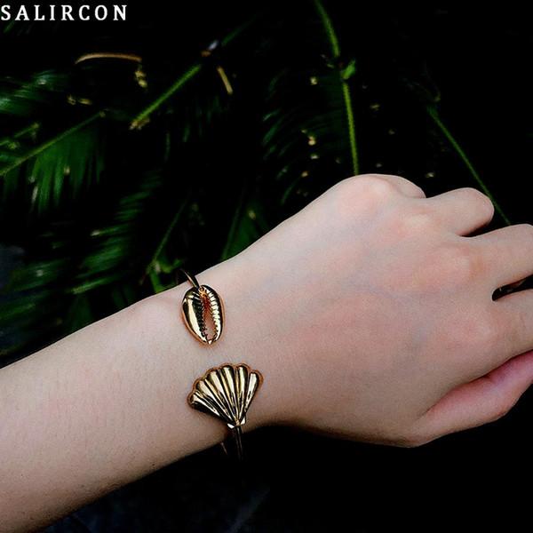 Salircon Punk Retro Scallop Chain Bracelet Fashion Gold Silver Alloy Open Chain Bracelet Jewelry for Woman Party 2019 Gifts
