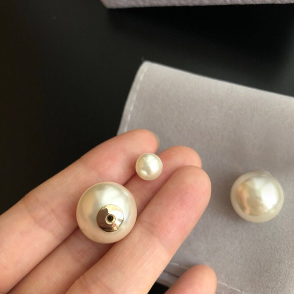 top popular Fashion Have stamps pearl stud earrings aretes for lady women Party wedding lovers gift engagement jewelry for Bride 2021