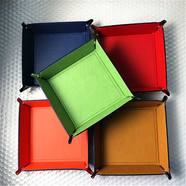 top popular 100pcs lot Foldable Storage Box PU Leather Square Tray for Dice Table Games Key Wallet Coin Box Tray Desktop Storage Box Trays 2019