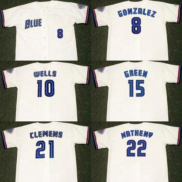 Männer 8 ALEX GONZALEZ 10 VERNON WELLS 15 SHAWN GREEN 21 ROGER CLEMENS 22 MIKE MATHENY Toronto 1999 Baseball Jersey