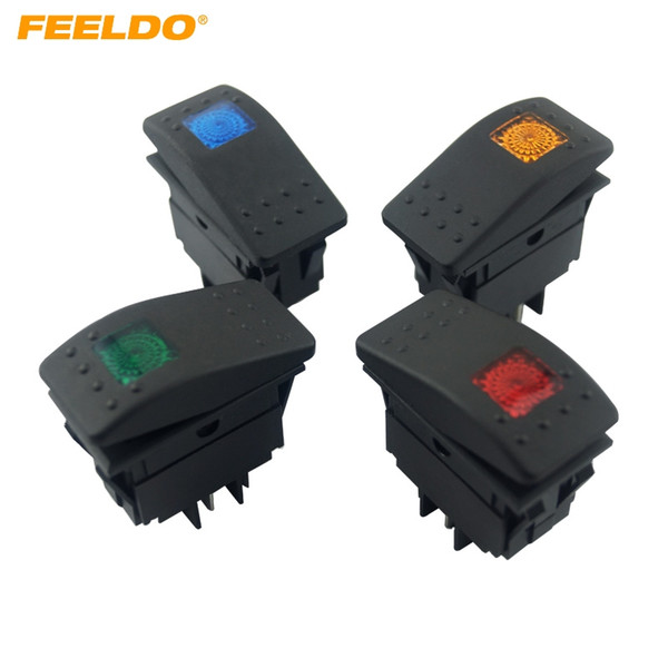 top popular FEELDO 12V 24V Car Boat RV Waterproof 4Pin Prong DPST Rocker Switch Toggle ON OFF With LED Light Blue Red Yellow Green Optional #2926 2021