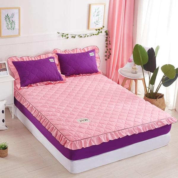 1 stück Bettlaken mit Elastischen Prinzessin Matratzenbezug Koreanischen Stil Feste Bettdecke Volle Königin King Size Bettwäsche Set Freies Verschiffen