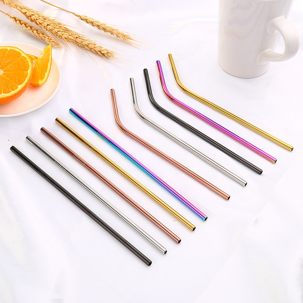 best selling Stainless Steel Straws And Brush 215*6mm 267*6mm Straight And Curved Coffee Milk Tea Straw For Hotel Bar Kitchen Mixing Straws Cheapest!!!