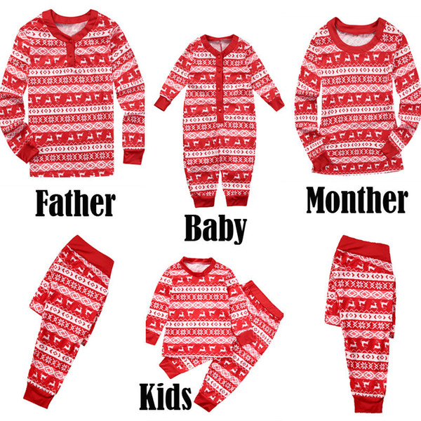Hirigin Papa Maman Bébé Enfants Cerfs Imprimer Coton O-Neck LongSleeve famille Matching Pyjama Noël Ensemble de nuit Notte