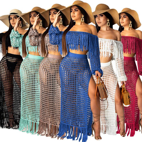 Women 2 piece dresses sexy hollow out sheer tassel skirts suit off shoulder summer long sleeve tank top bodycon skirts plus size s-2xL361