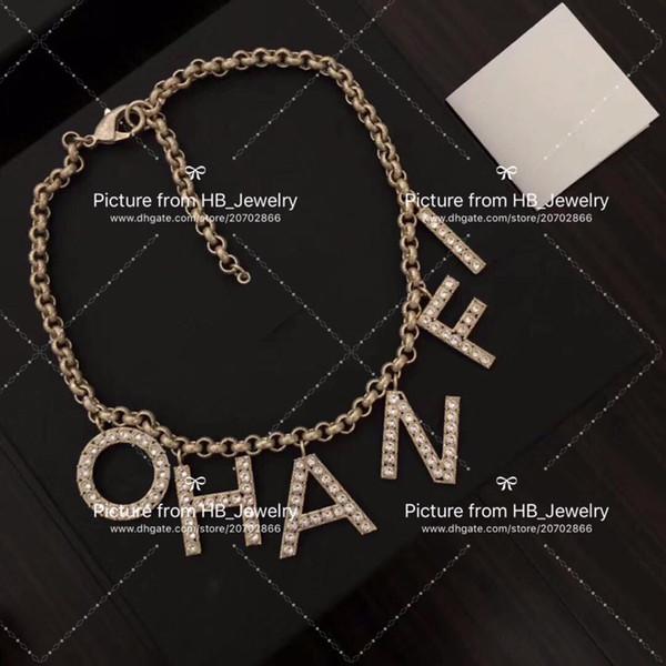 Collana di girocolli di lettera di marca di moda popolare per signora di disegno donne amanti di nozze del partito fidanzata regalo gioielli di lusso per la sposa con la scatola.