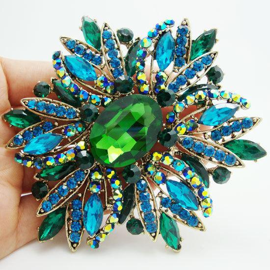 brooch fashion New New Fashion Elegant Flower Gold Tone Large Brooch Pin Green Rhinestone Crystal